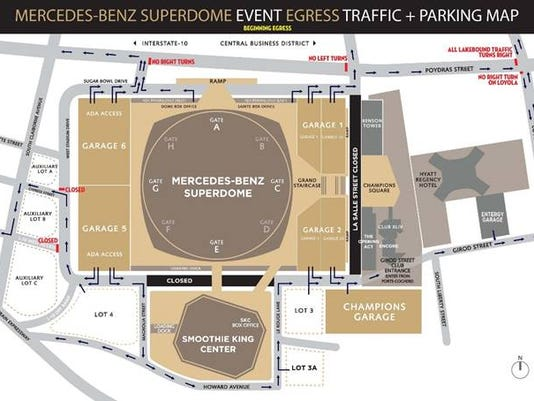 Saints fans advised about traffic restrictions around stadium for Mercedes benz superdome parking