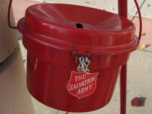 Salvation Army Kettle ~ Couple drops k check in salvation army red kettle