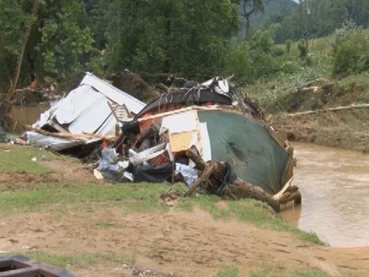 Flood damage in Johnson County, KY