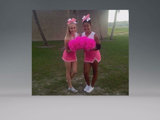 Teacher pink cheer uniforms