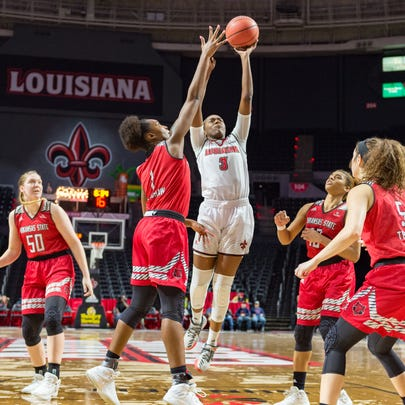 Cajuns Ty'Reona Doucet on takes a shot as the Louisiana