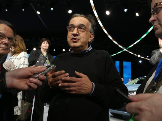 Sergio Marchionne at the FCA stage at the 2016 North American International Auto Show at Cobo Center in downtown Detroit on Jan. 11, 2016.