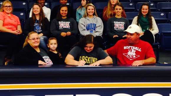 Roberson senior Samantha Schmidt has signed to play college softball for Erskine (S.C.).