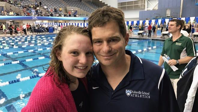 Abby Kriegler and Asheville School swimming coach Frank Kriegler.