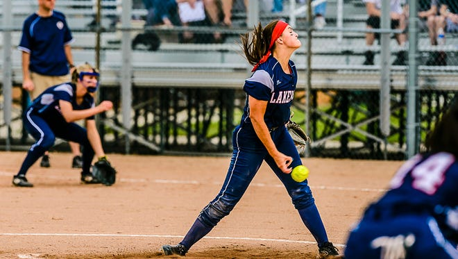 Lakewood's Kennedy Geiger has been one of the top softball performers in the Lansing area.