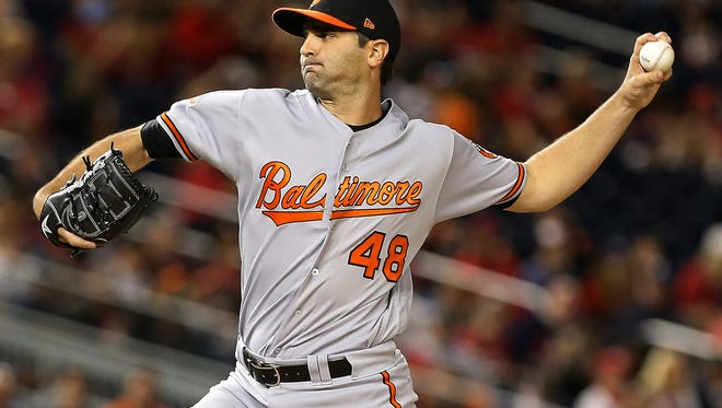 Jun 8, 2017; Washington, DC, USA; Baltimore Orioles relief pitcher Richard Bleier (48) pitches against the Washington Nationals at Nationals Park. Mandatory Credit: Geoff Burke-USA TODAY Sports