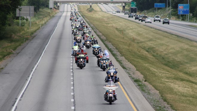 Thousands of bikers participated in the 2013 Operation God Bless American motorcycle ride, from Greencastle to Martinsburg, West Virginia. They raised money for veterans at the Martinsburg VA Medical Center.