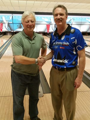 PBA50 South Region Pensacola Open winner and PBA Hall of Famer Walter Ray Williams, Jr. (right) is congratulated by runnerup Gary Morgan after this weekend's event.