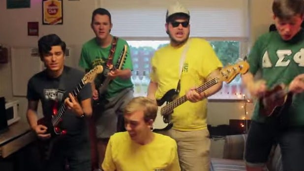 """These are some of the Delta Sigma Phi fraternity brothers who score an invite from Taylor Swift to a concert with the lip sync of """"Shake it Off."""""""