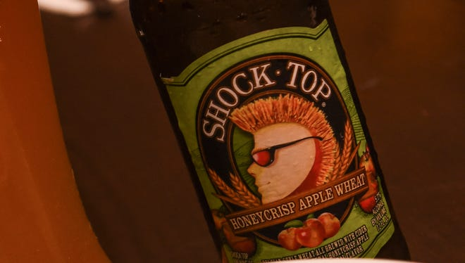 The Braised Pork Belly with Beer Cheese Gravy is paired with a Shock Top Honeycrisp Apple Wheat flavored beer at the Meskla Bistro/Shock Top Pop-up Craft Event in Hagatna on Feb. 29.