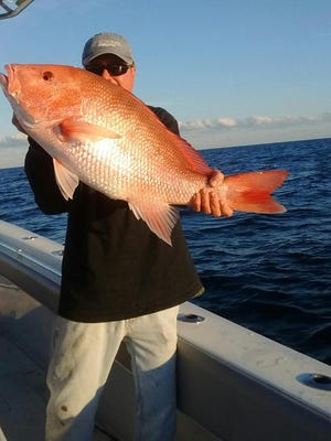 Red snapper caught in 80 feet of water off Fort Pierce by Jim Dodich.