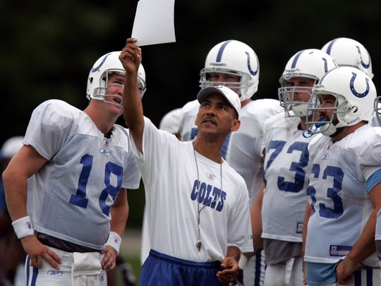 Colts coach Tony Dungy works with his players, including quarterback Peyton Manning, during training camp in 2007.