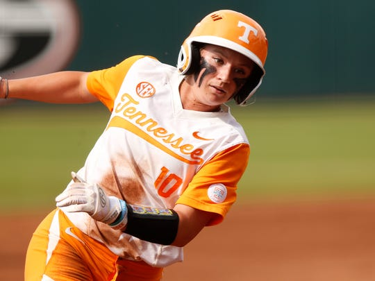 Tennessee's Aubery Leach runs for third base during