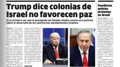 """This screen grab of the Friday, Feb. 10, 2017 digitized version of Dominican Republic's El Nacional print edition shows comedian Alec Baldwin doing his impression of President Donald Trump on """"Saturday Night Live,"""" next to a photo of Israel's Prime Minister Benjamin Netanyahu on the paper's international page with the Spanish headline: """"Trump says settlements in Israel don't favor peace."""" The Spanish caption under Baldwin's photo reads: """"Donald Trump, president of U.S."""" The newspaper published an apology on Saturday."""