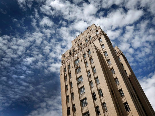 The15-story Bassett Tower at Stanton and Texas in Dowtown El Paso is undergoing a full renovation and is scheduled to open as a Starwood Aloft Hotel next summer. The art deco-style building was designed by iconic El Paso architect Henry Trost.