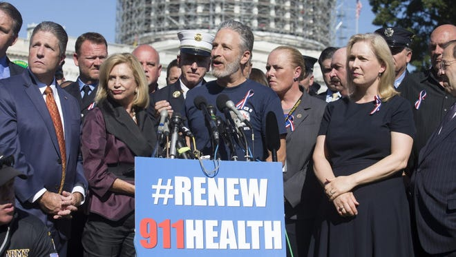 In September, former Daily Show host Jon Stewart urges Congress to renew the Zadroga Act, which offers benefits for those first responders suffering illnesses linked to the aftermath of 9/11.
