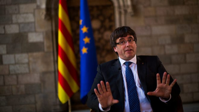 Catalonia's regional president, Carles Puigdemont, at the Catalan government headquarters, in Barcelona, Spain, on Sept. 27, 2017.