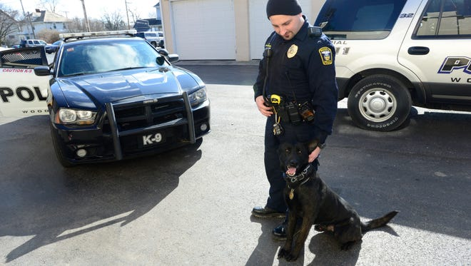 Heroin-related crimes in Woodville and other Sandusky County communities has risen dramatically since 2013. K9 officer Steve Gilkerson works with a drug sniffing dog named Raider to make arrests.