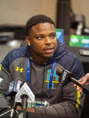 Notre Dame defensive tackle Jarron Jones  speaks to the media during the 2017 combine at Indiana Convention Center.