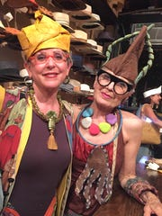 Merle Weismer and Debra Rapoport at a recent hatmaking workshop.