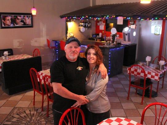 Bob and Kim Yacone at Foreghedaboudit Pizza, 115 North