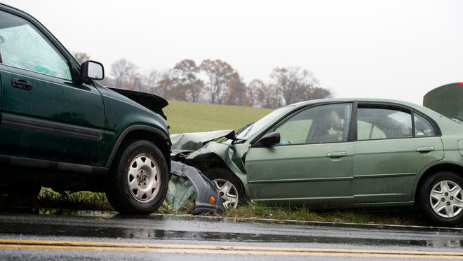 The scene of a two-vehicle crash on Moulstown Road, in Heidelberg Township, November 18, 2017. The crash sent three people to the hospital and one by medical helicopter.