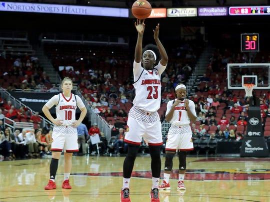Louisville's Jazmine Jones at the free throw line.