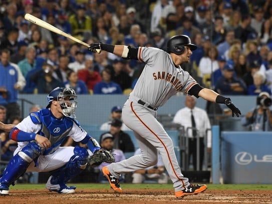 San Francisco Giants second baseman Joe Panik hits