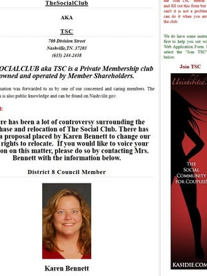 A Nashville swingers club asked members to write to Councilwoman Karen Bennett.