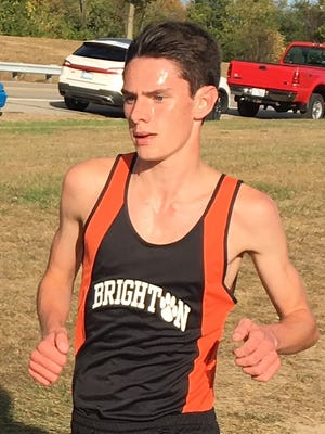 Brighton sophomore Zachary Stewart was third in the Portage Invitational in a personal-best 15:41.
