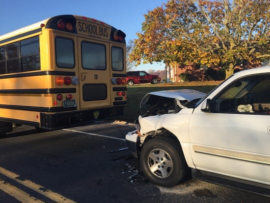 When Wendy Lewis of Milford pulled onto Old Shawnee Road, on Tuesday, in her SUV. She briefly looked down to buckle her seat belt, and struck a school bus,