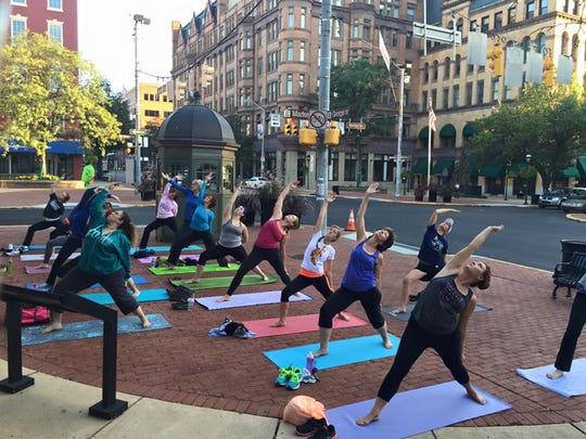 No Sweat, York hosts an exercise session in Continental Square.