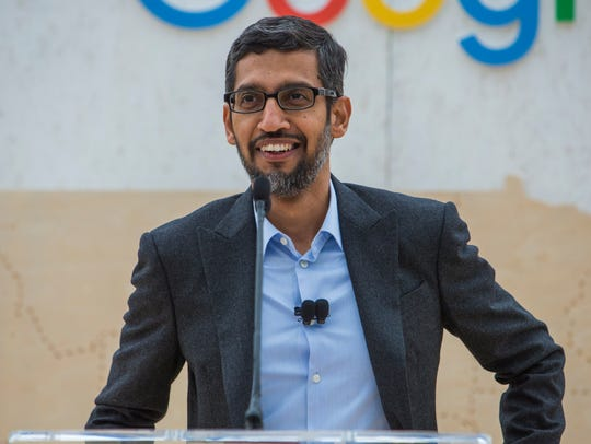 Sundar Pichai, CEO of Google, speaks during the data