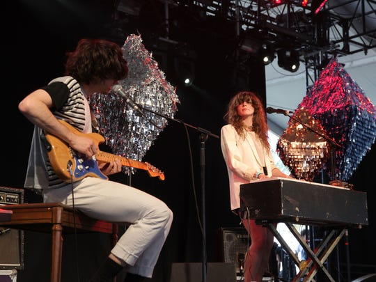 Alex Scally (L) and Victoria Legrand of the band Beach House perform during day two of the Coachella Valley Music & Arts Festival 2010 held at the Empire Polo Club on April 17, 2010 in Indio, California.