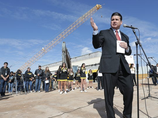 In this December 2016 file photo, YISD Superintendent Xavier De La Torre speaks before a groundbreaking at Parkland Middle School.