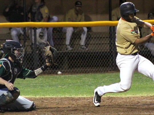 Anthony Pastrana makes contact with the ball Tuesday night at the Griggs Sports Complex.