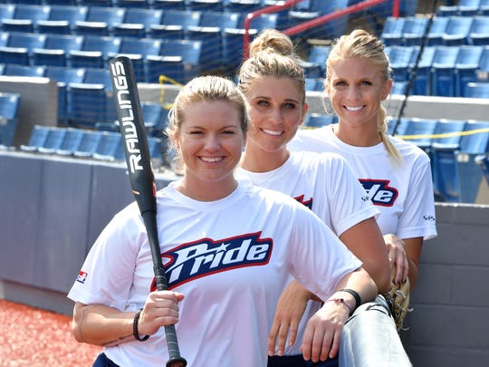 Three former FSU players are now on the USSSA Pride pro team in Viera: from front, third baseman  Jessie Warren, first baseman Alex Powers and pitcher Jessica Burroughs.