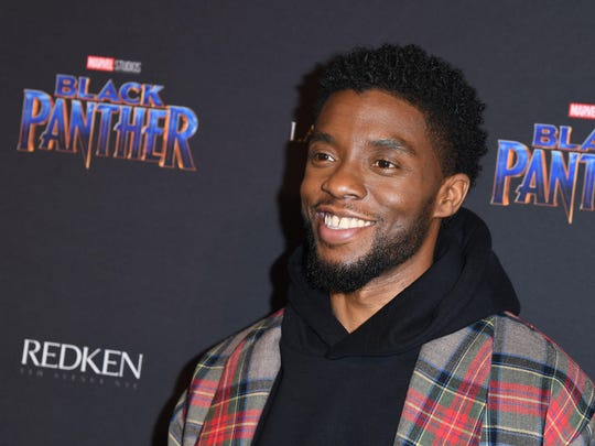 """Actor Chadwick Boseman arrives for the Marvel Black Panther fashion week celebration """"Welcome to Wakanda"""" at Industria on Monday in New York."""