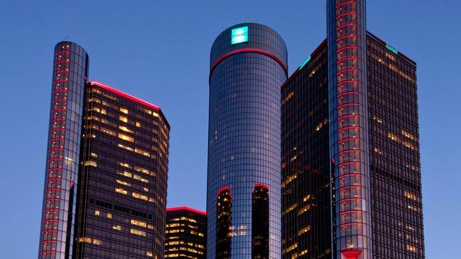 The General Motors Renaissance Center Global Headquarters displays new exterior lighting.