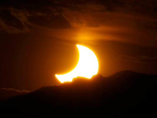Annular eclipse over Rocky Mountains