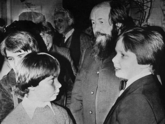 Aleksandr Solzhenitsyn with his family: wife Natalya