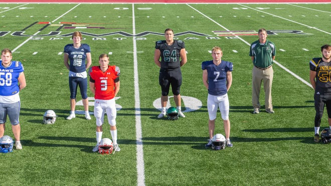 2020 All State Football Top 11: Front row (left to right): Torrey Horak, Rossville; Hayden Robb-Perry-Lecompton; Tyler Bowden, Tonganoxie; Cooper Marsh, Mill Valley; Cayden Winter, Andale; Devin Neal, Lawrence. Back row: LaJames White, St. James Academy; Henry Martin, Blue Valley North; Alex Key, Derby; Coach of the year Chris Schmidt, Olpe; Lem Wash, Derby; Ethan Kremer, Mill Valley.