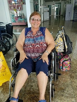 Dixie Stinson leaving Amerimed Hospital in Cancun on Friday.