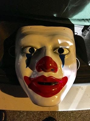 A photo of the mask confiscated by Ossining police on Wednesday night.