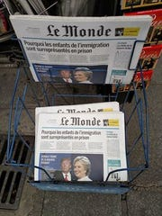 LeMonde newspaper in Paris, France showing U.S presidential candiates.