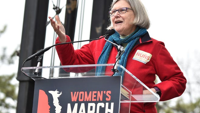 Sister Simone Campbell speaks onstage at the Women's March on Washington on Jan. 21, 2017 in Washington, D.C.