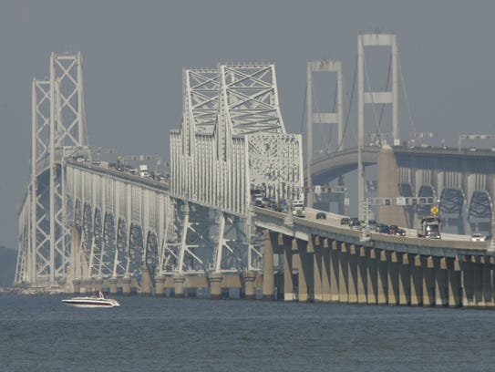 A view of the Chesapeake Bay Bridge in Maryland.