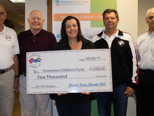 On Oct. 20, four members of the Central Jersey Corvette Club, which includes members from Readington and Somerset, visited Sue Garbe of Tomorrows Children's Fund to deliver the $5,000 the club raised this year to benefit children dealing with cancer and serious blood disorders. In addition to direct financial aid programs, TCF also offers an array of activities, events, outings, special guests and parties designed to provide young patients with a brighter tomorrow. To date, the Corvette Club has donated more than $30,000 to the fund and plans on continuing its fundraising activities to help support the organization.