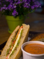 Garden of Eatin' Cafe at Gardener's Supply in Williston: The caprese sandwich, fresh mozzarella, tomatoes, basil pesto and Vermont balsamic on rosemary focaccia, served with a tomato basil cream soup.
