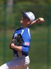 Ed Pagliarini/Correspondent Westfield pitcher Alex Pansini takes aim during Saturday?s game  against Scotch Plains-Fanwood. Westfield at Scotch Plains-Fanwood baseball. Westfield pitcher Alex Pansini Saturday April 16 2016 photo by Ed Pagliarini